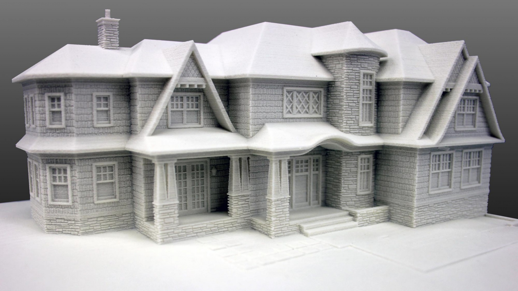 Architectural 3D Print of a home with material textures