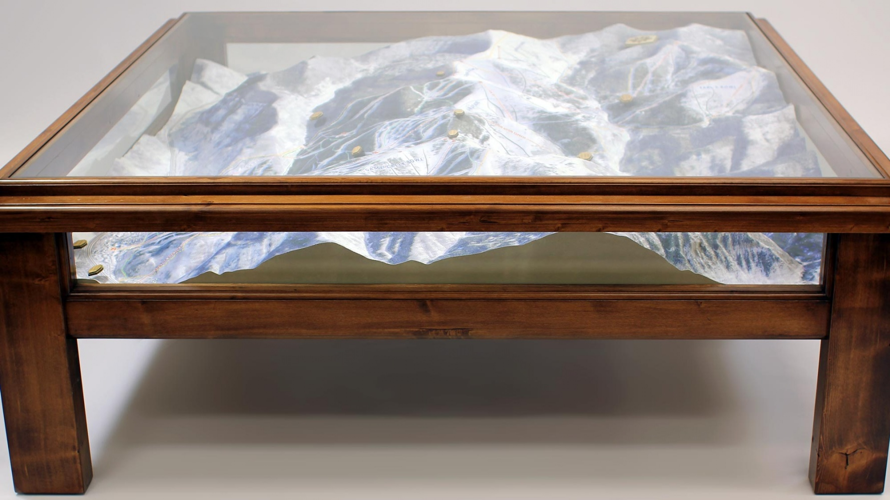 a ski mountain in a coffee table