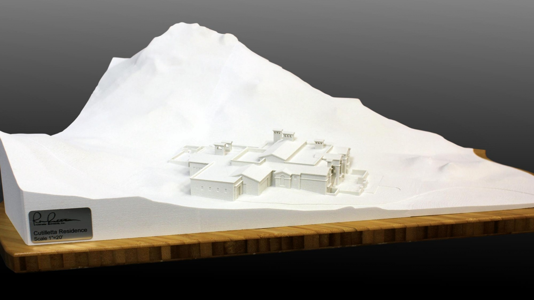 3d print of a residence in mountain setting