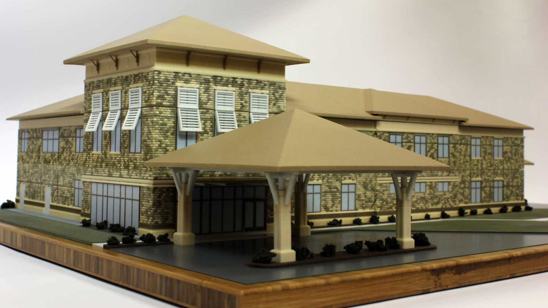 Architectural model with color brick texture