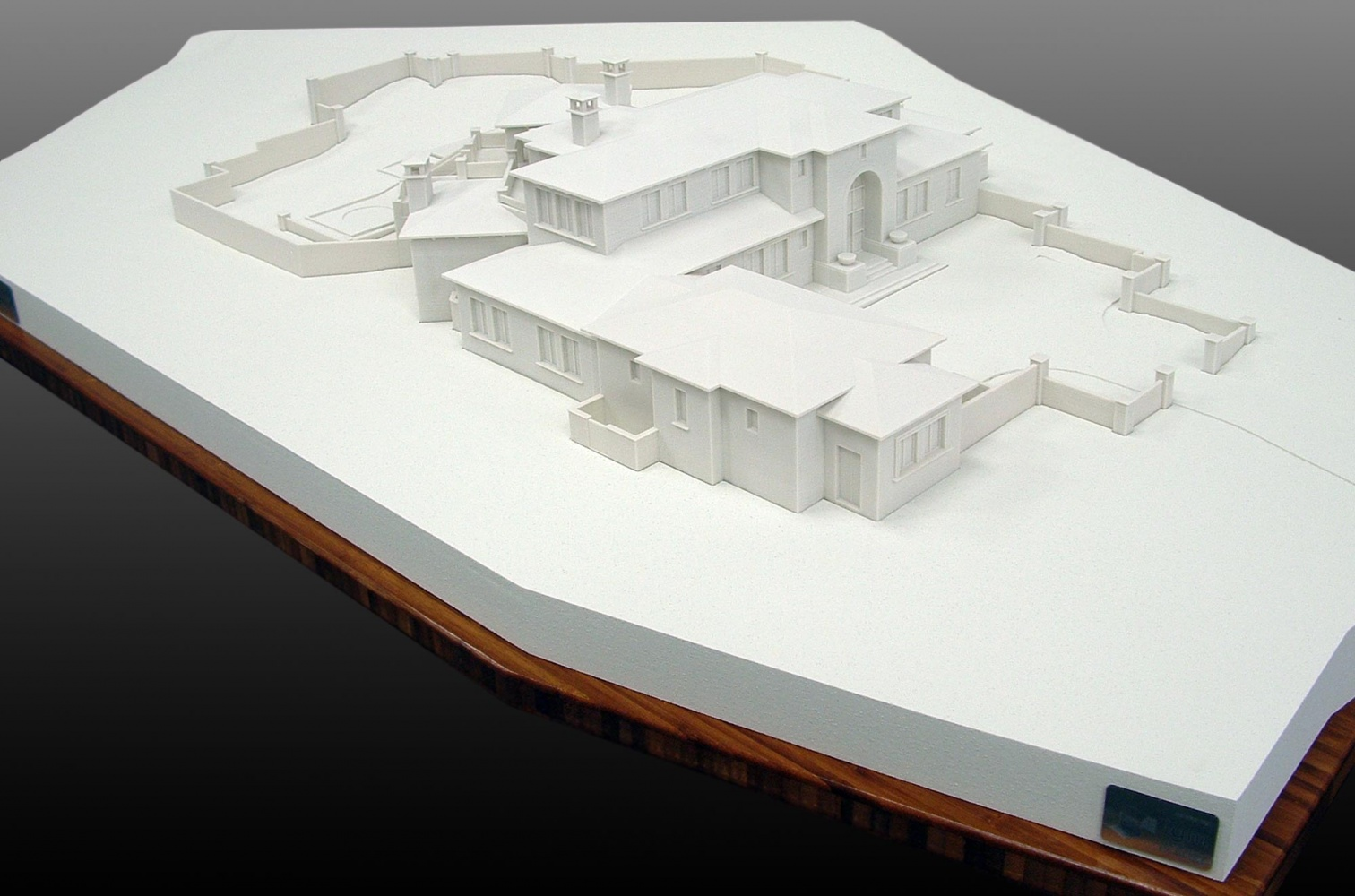 3D Printed Building on White Terrain Form