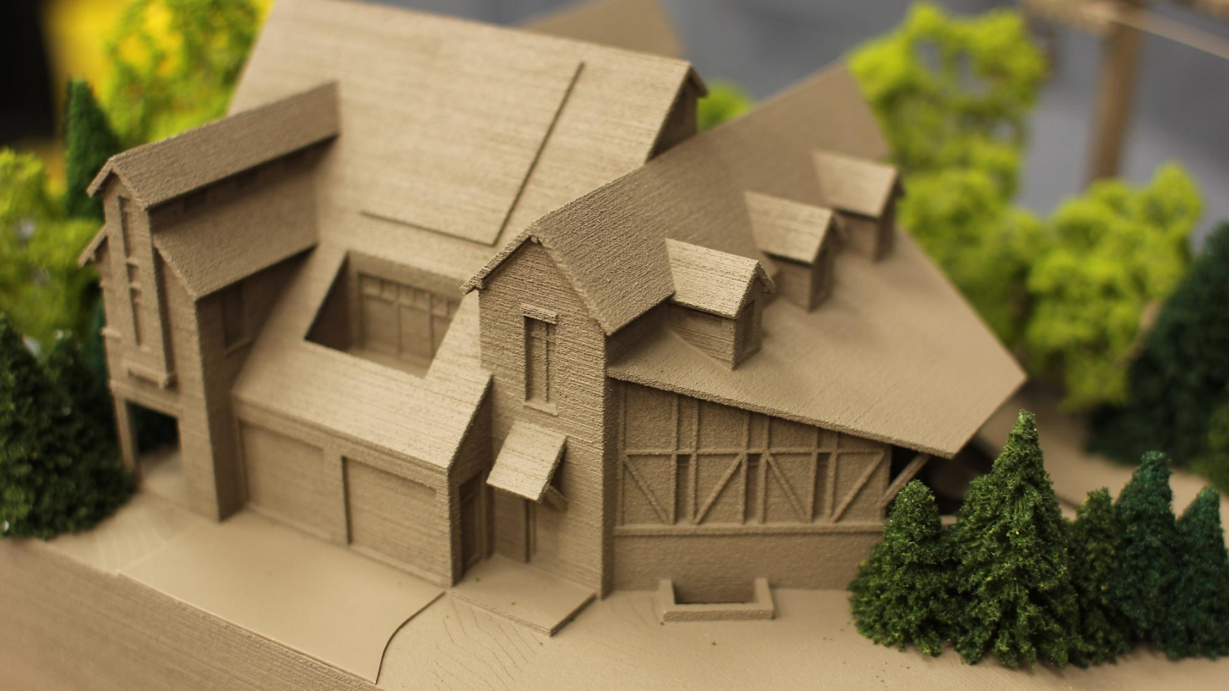 1 to 12 scale 3d print model of a home and ski slope